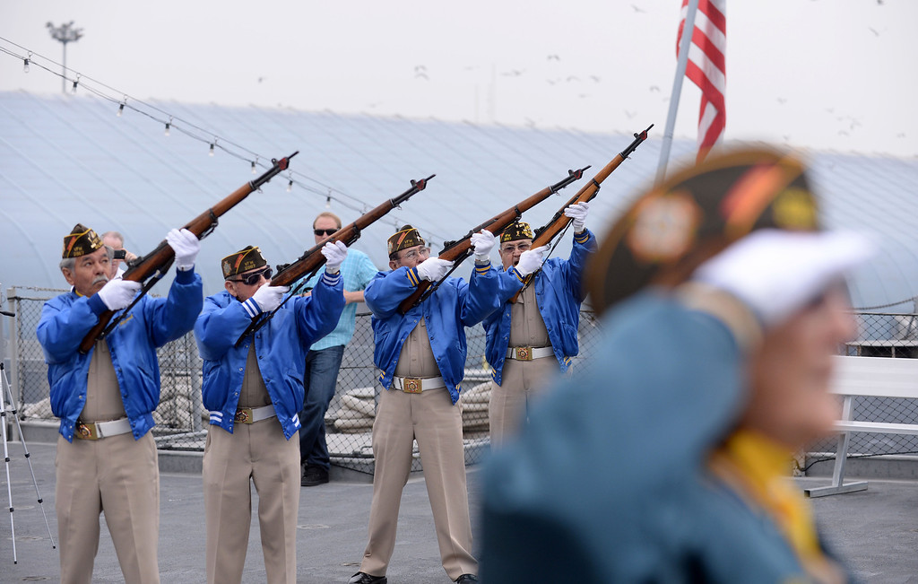 . VFW Post 2967, Wilmington, fires a volley to memorialize those who gave their lives aboard the USS Hoel, which was sunk this date 1944.  Ceremony aboard the USS Iowa, San Pedro.  (Fri. Oct. 25, 2013 Photo by Brad Graverson/The Daily Breeze)