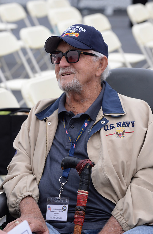 . Glenn Parkin, 92, survivor of USS Hoel which was sunk this date 1944. Memorial aboard the USS Iowa, San Pedro.  (Fri. Oct. 25, 2013 Photo by Brad Graverson/The Daily Breeze)