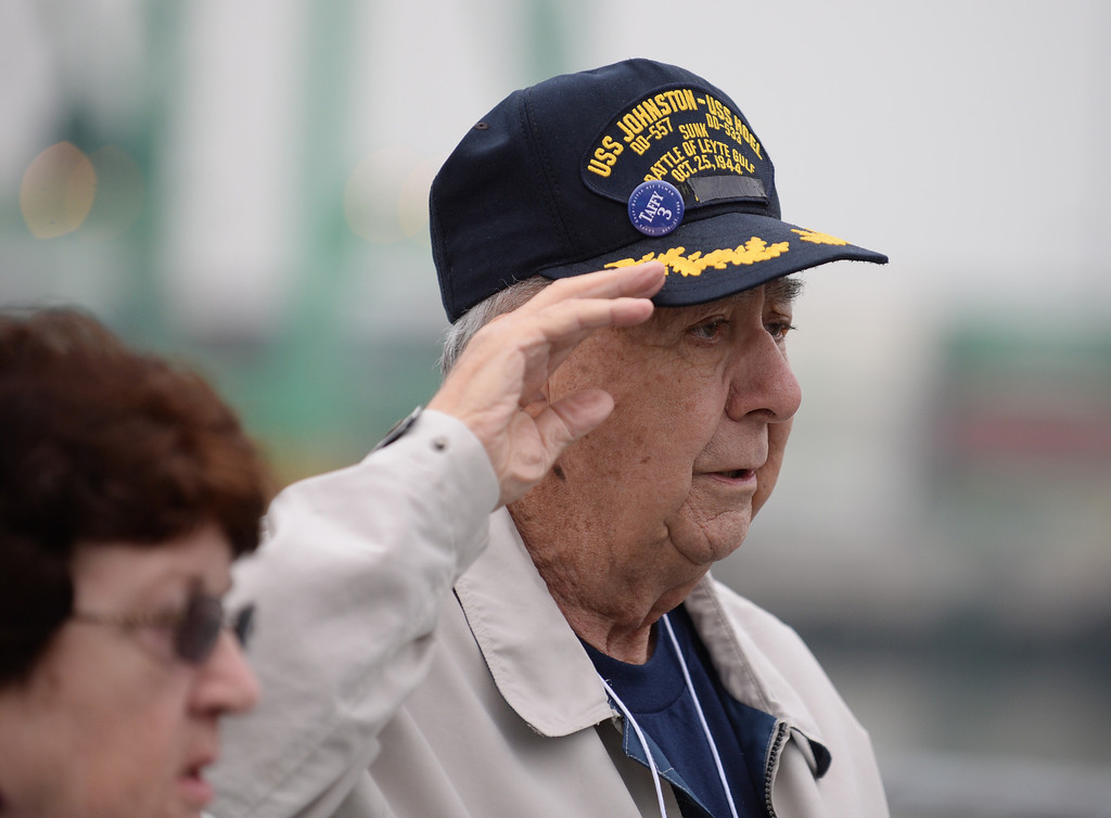 . John Oracz,  survivor of USS Hoel which was sunk this date 1944. Memorial aboard the USS Iowa, San Pedro.  (Fri. Oct. 25, 2013 Photo by Brad Graverson/The Daily Breeze)