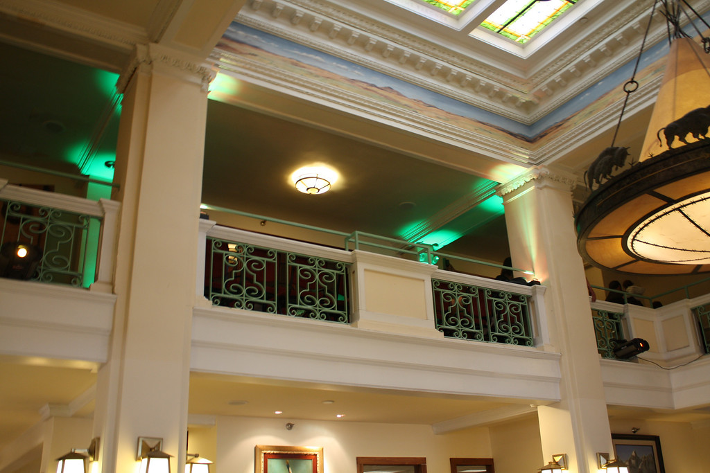 Uplighting to accent the walls at the Plains Hotel in Cheyenne Wyoming. 2nd floor