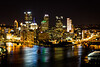 """The Golden Triangle, the land between the confluence of the Allegheny and Monongahela rivers into the Ohio River, is Pittsburgh's central business district. With over 400 bridges, Pittsburgh is known as the """"City of Bridges"""". Pittsburgh, PA<br /> <br /> PA-120625-0012"""