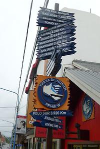 """Ushuaia, """"Fin del Mundo""""  distance signs"""