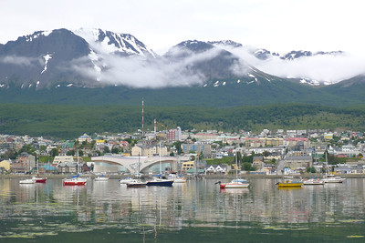 Ushuaia view from marina dock, the Casino is prominent.