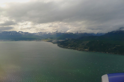 On approach to Ushuaia Airport. Ushuaia is at the foot of the Martial Mountain Range on the left. The flight left AEP late, which seems pretty typical but was not too bad on arrival.  It was a good flight, meeting two of the One Ocean Exploration staff for the Vavilov.