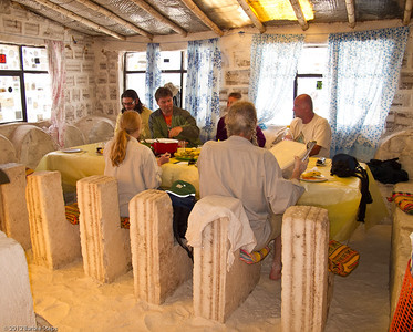 Lunch in the the Salt Hotel - sitting on our salt seats at our table made of salt .