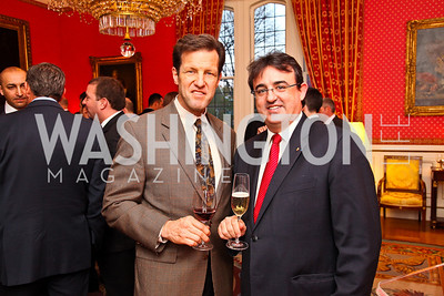 Rep. Russ Carnahan, Relais & Chateaux Président International and Chairman of the Board Jaume Tàpies. VIP reception for Relais & Chateaux Hotels. Photo by Tony Powell. French Ambassador's residence. March 28, 2011