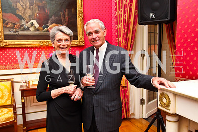 Muffy Bate Price, Gary Conover. VIP reception for Relais & Chateaux Hotels. Photo by Tony Powell. French Ambassador's residence. March 28, 2011