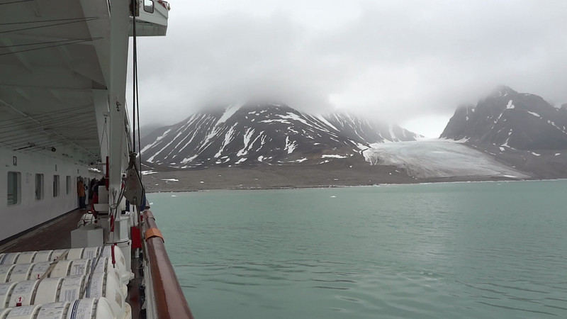 MAH02240 Short video of  multiple glaciers as ship was doing a turaround goby for passengers views.  Need edit last few frames.