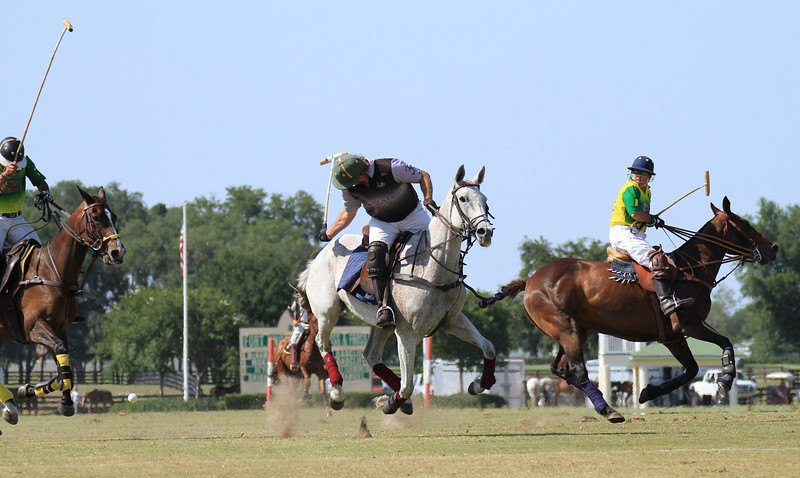 The rider has hit the ball backwards in this shot to a team player behind him.