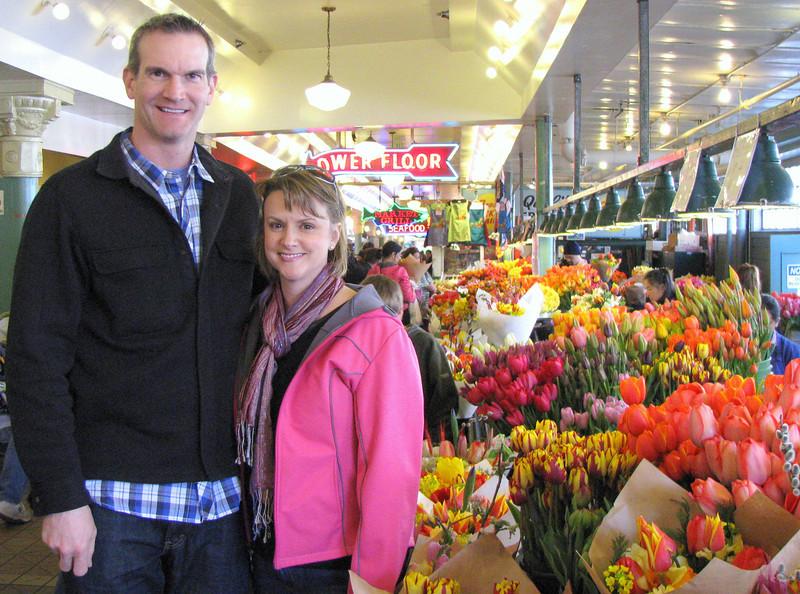 Erik and Amy at Pike Place Market - tulip season!