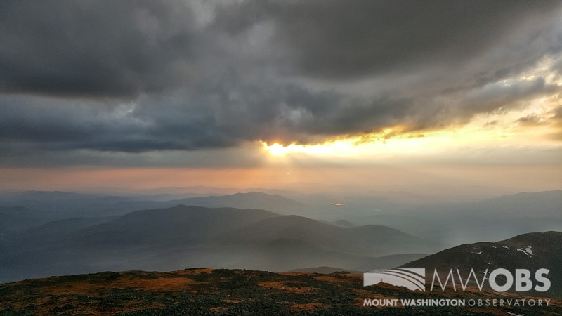 Shallow Fog Forming On Summits After Rain Near Sunset