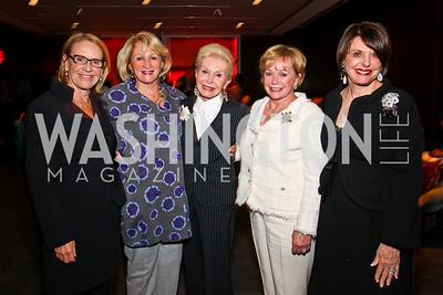 Marcia Carlucci, Maggie Shannon, Diane Kay, Patricia Norton, Marlene Malek. Vital Voices Awards. Photo by Tony Powell. Kennedy Center. April 12, 2011