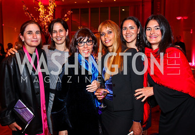 Anel Townsend, Maria Pacheco, 2008 Honoree Laura Alonso, 2010 Honoree Panmela Castro, Eugenia Podesta, Maria Gabriela Hoch. Vital Voices Awards. Photo by Tony Powell. Kennedy Center. April 12, 2011