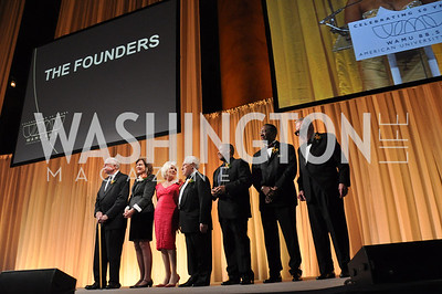 The Founders L to R- George Geesey, Susan Harmon, Diane Rehm, Fred Fiske, Russell Williams, Judge Gerald Bruce Lee, Ed Walker.jpg WAMU NPR 50th Anniversary Gala at Building Museum