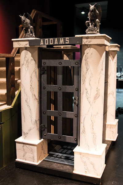 "Matthew Gaston | The Sheridan Press<br>The crypt, complete with squeaky hindges and gargoyles is just one of several moveable set pieces that will be used to bring the ""The Addams Family"" to life this Saturday at the WYO Theatre. Tuesday, Oct. 16, 2018."