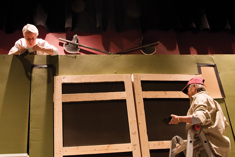Matthew Gaston | The Sheridan Press<br>Local artists Pat Trout, left and Paulette Kucera, right, volunteer at the WYO Theatre building and painting the sets for stage performances Tuesday, Oct. 16, 2018.