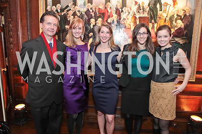 Martin Gammon, Amy Dorcy, Diana Minshall, Wendy Whitcomb, Sophie Pyle. Washington Life and National Museum for Catholic Art's Holiday 2012 Celebration. Georgetown Victorian Christmas House. December 15, 2011. Photo by Alfredo Flores
