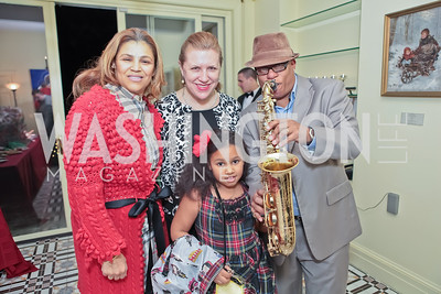 Jean Johnson, Kirsten Marie Obadal, Skylar Johnson, Ski Johnson. Washington Life and National Museum for Catholic Art's Holiday 2012 Celebration. Georgetown Victorian Christmas House. December 15, 2011. Photo by Alfredo Flores