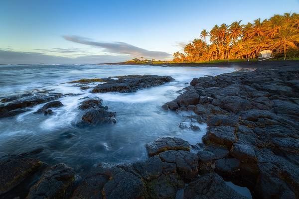 Golden hour at black sand beach