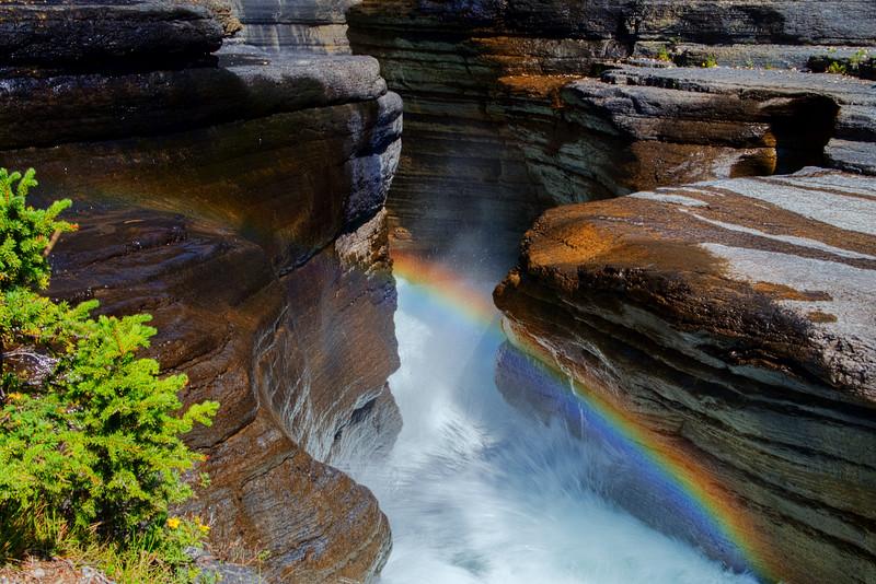 Rainbow at Mistaya Canyon