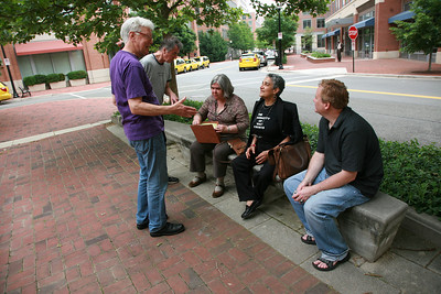 We gathered in a small square near the building we were going to in Old Town a few blocks from the King Street Metro. We were running way behind schedule, Ray McGovern had to rush off to a previous arrange meeting  that afternoon in D.C.