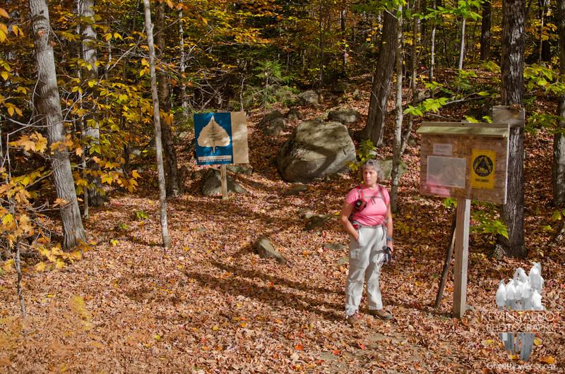 Jude at the Loop Trail trailhead for Tumbledown Mountain.