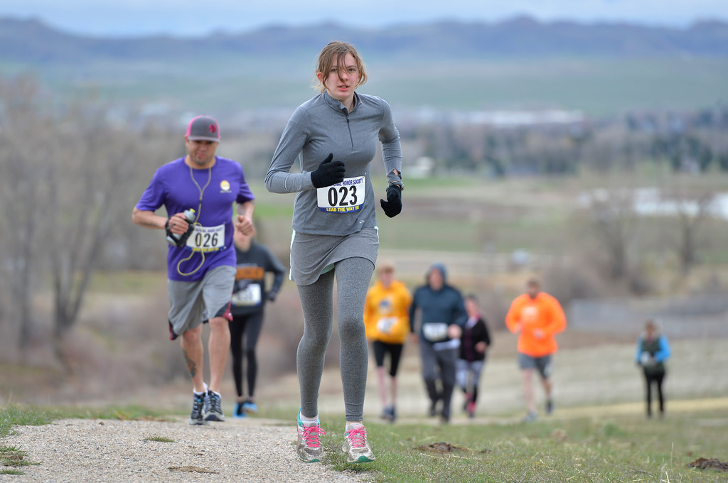 "Justin Sheely | The Sheridan Press<br /> Kaitlin Shaw leads the pack at the start of the ""Lead the Way"" 5k Saturday at Soldier Ridge Trail in Sheridan. The race was organized by Sheridan High School's National Honors Society to support Wyoming Big Brothers Big Sisters."