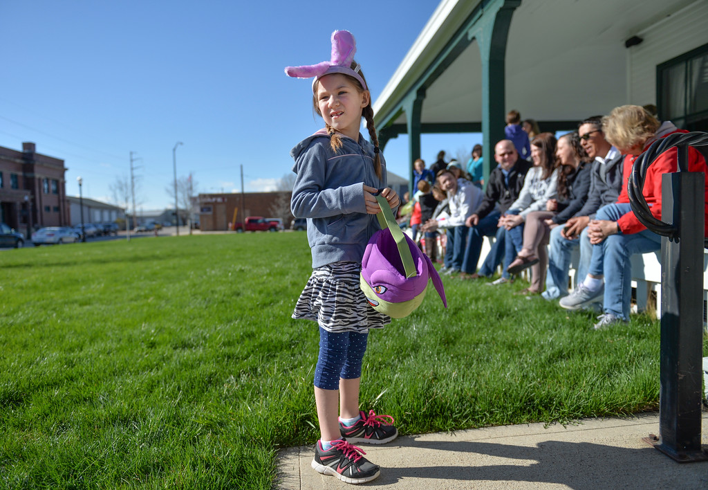 Justin Sheely | The Sheridan Press<br /> Seven-year-old Mackenzie Clayton waits for the start of the Easter Egg Hunt Saturday morning at the Historic Sheridan Inn.