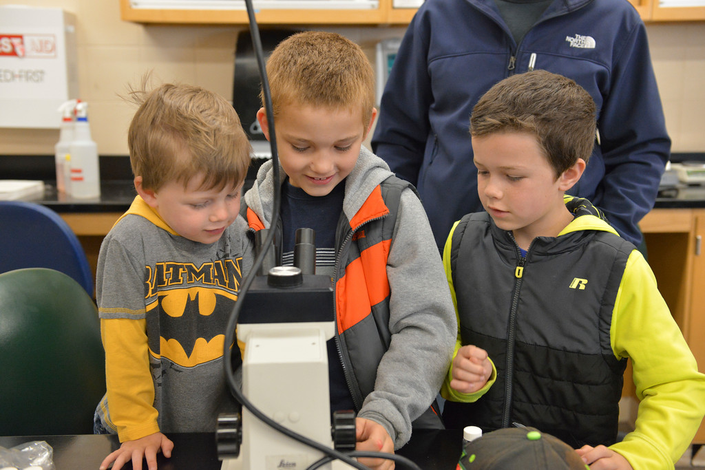 Justin Sheely | The Sheridan Press<br /> From left, Caleb Robinson, 4, Tanner Layher and Tristan Robinson, 8, look at insects in the lab during Science Saturday at the Sheridan College Science Center. The group ventured to a nearby natural area to collect insects and take a closer look under microscopes.