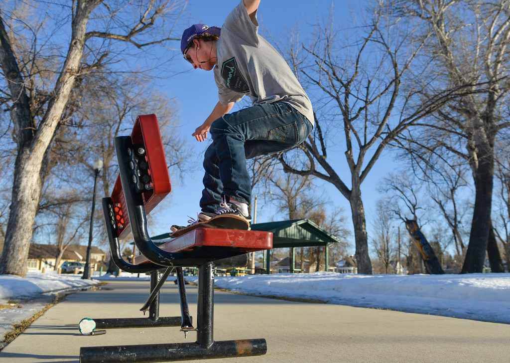 Justin Sheely | The Sheridan Press<br /> Dalton Nath practices some skateboard tricks on a warm Tuesday afternoon in Kendrick Park. Much of this week will expect to see high temperatures in the high 50's.