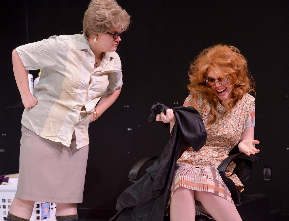 """Justin Sheely   The Sheridan Press<br /> Theater students Sarah Cote, left, confronts Calie Siplon during a rehearsal of Robert Harling's """"Steel Magnolias"""" at the Mars Theater at the WYO Performing Arts and Education Center Thursday, April 5, 2018. The play, presented by the Sheridan College theater program and directed by DannyLee Hodnett, runs April 12 - 14 at 7 p.m. and April 15 at 2 p.m. at the Mars Theater. Tickets are available at the WYO Theater box office and online."""