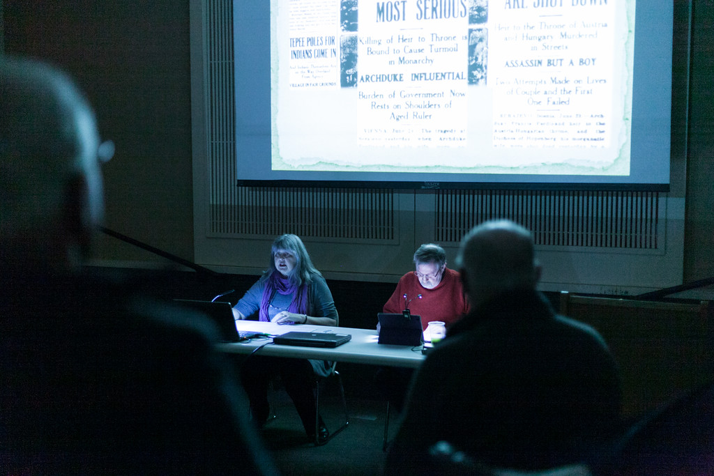 Tibby McDowell   The Sheridan Press Cynde Georgen, left, and her husband Steve Baskin, both involved in the Trail End Historic Site read excerpts from letters during the event Sheridan's Own: Letters From the Frontlines of World War One at the Sheridan Fulmer Public Library Thursday, April 5, 2018.