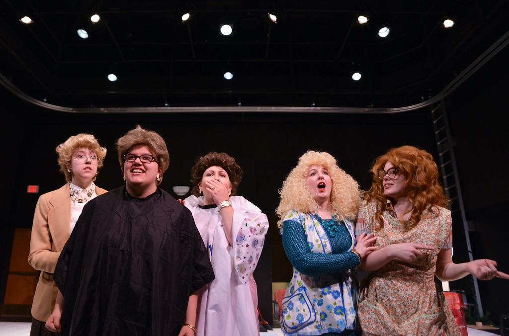 """Justin Sheely   The Sheridan Press<br /> Theater students, from left, Joely Mueller, Sarah Cote, Marlee holdeman, Victoria Waterhouse and Cali Siplon react to a scene outside during a rehearsal of Robert Harling's """"Steel Magnolias"""" at the Mars Theater at the WYO Performing Arts and Education Center Thursday, April 5, 2018. The play, presented by the Sheridan College theater program and directed by DannyLee Hodnett, runs April 12 - 14 at 7 p.m. and April 15 at 2 p.m. at the Mars Theater. Tickets are available at the WYO Theater box office and online."""