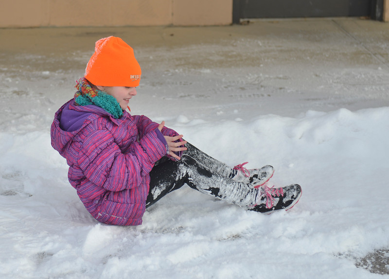 Justin Sheely | The Sheridan Press<br /> <br /> Six-year-old Josey Whaley plays in the snow during the Valentine's Day fun run at Thorne-Rider Park Saturday, Feb. 17, 2018.