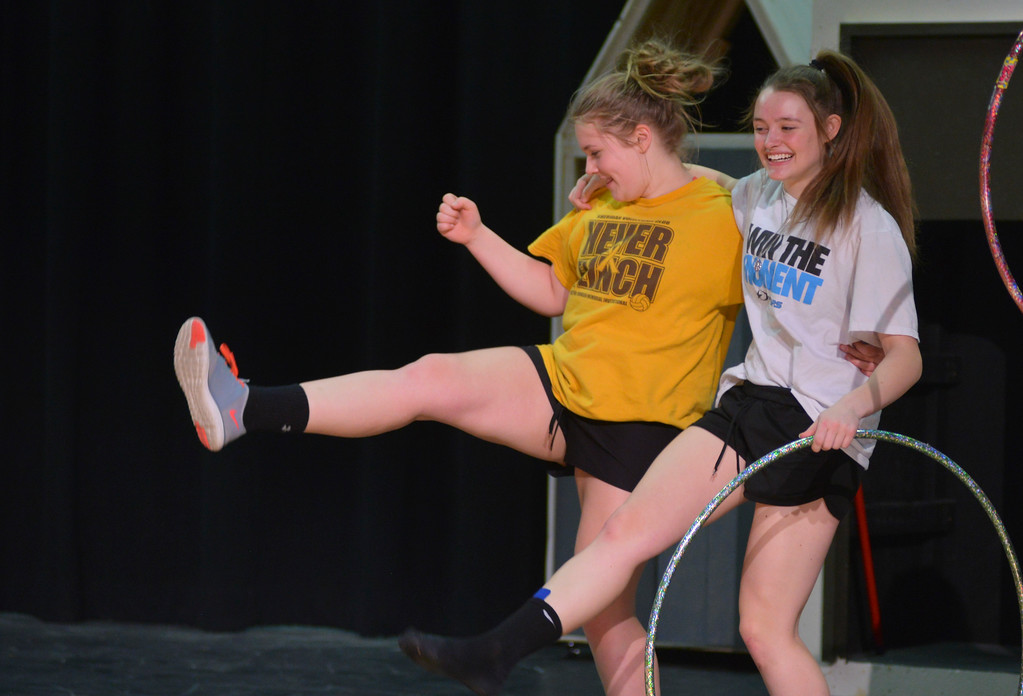 "Justin Sheely | The Sheridan Press<br /> <br /> Emma Scammon, left, and Linsey Tritschler kick during practice for the musical performance of ""Beauty and the Beast"" at Tongue River High School Friday, Feb. 16, 2018. The play will show at Tongue River High School March 6, 7 and 8 at 7 p.m., pre-show dinner fundraiser is Tuesday, March 6 at 5:30 p.m."