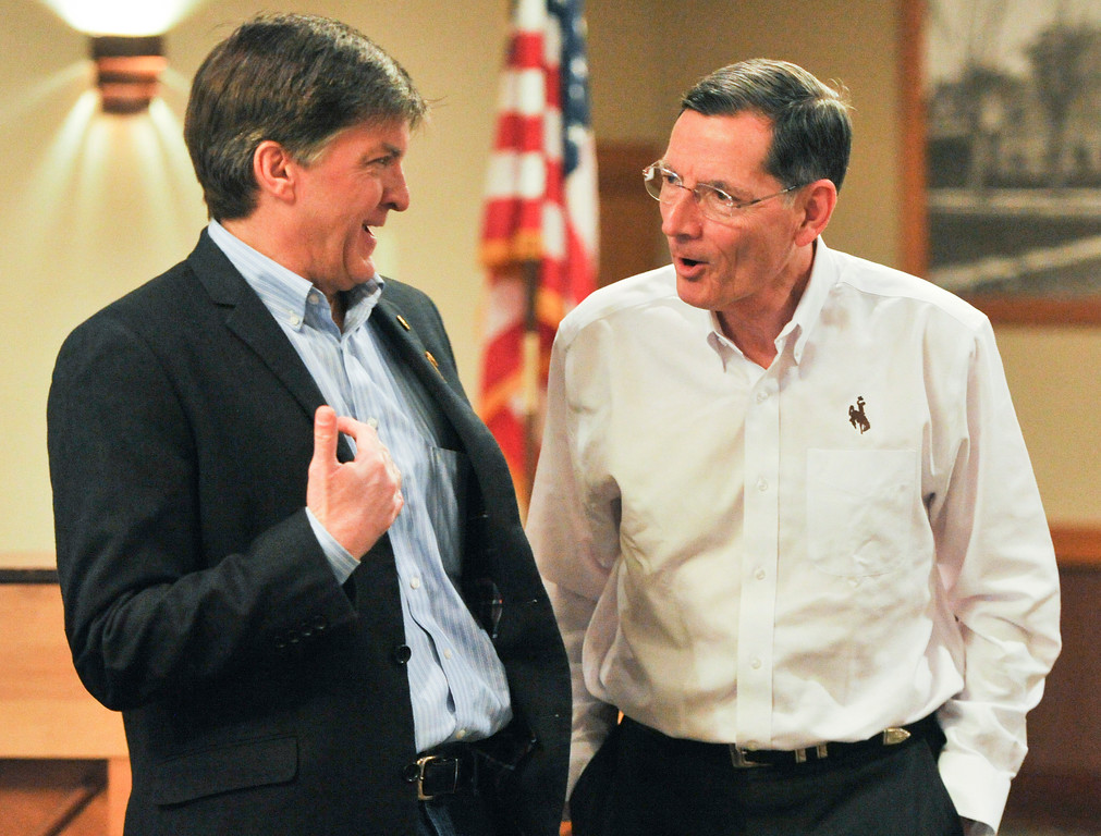 Justin Sheely | The Sheridan Press<br /> <br /> Sheridan Rotary club president David Alden, left, visits with U.S. Sen. John Barrasso during the Rotary meeting at Sheridan Center Friday, Feb. 16, 2018.