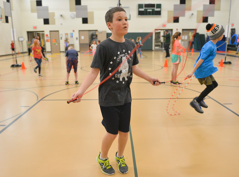 Justin Sheely | The Sheridan Press<br /> <br /> Fifth-grader Jack Melger counts his jumps during the annual Jump Rope for Heart event at Tongue River Elementary Friday, Feb. 23, 2018. Jump Rope for Heart is a nation-wide program to promote exercise and healthy eating for kids.