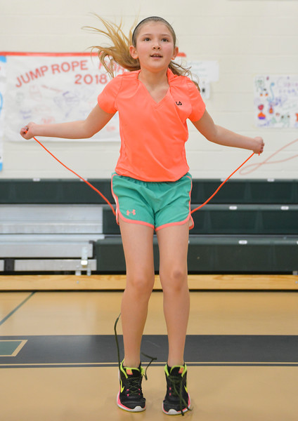 Justin Sheely | The Sheridan Press<br /> <br /> Fourth-grader Brooke Krumm does an exercise during the annual Jump Rope for Heart event at Tongue River Elementary Friday, Feb. 23, 2018. Jump Rope for Heart is a nation-wide program to promote exercise and healthy eating for kids.