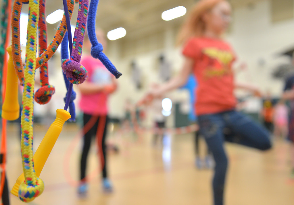 Justin Sheely | The Sheridan Press<br /> <br /> Students exercise with jump ropes during the annual Jump Rope for Heart event at Tongue River Elementary Friday, Feb. 23, 2018. Jump Rope for Heart is a nation-wide program to promote exercise and healthy eating for kids.