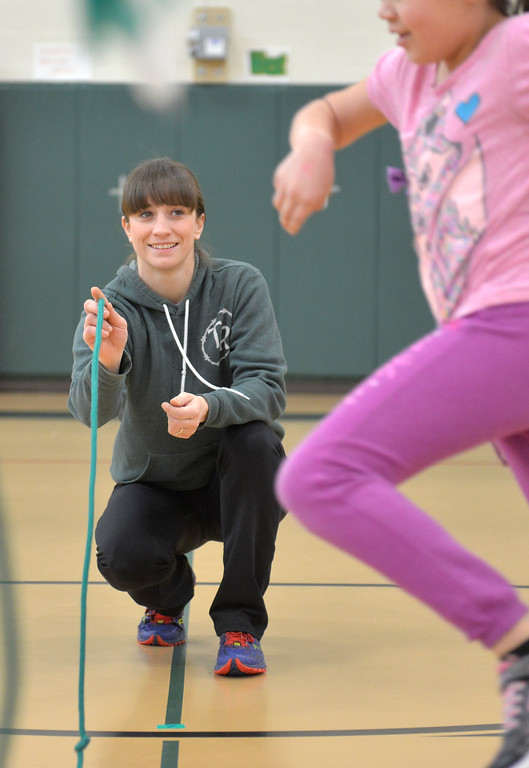 Justin Sheely | The Sheridan Press<br /> <br /> Emily Barker makes waves on a rope during the annual Jump Rope for Heart event at Tongue River Elementary Friday, Feb. 23, 2018. Jump Rope for Heart is a nation-wide program to promote exercise and healthy eating for kids.