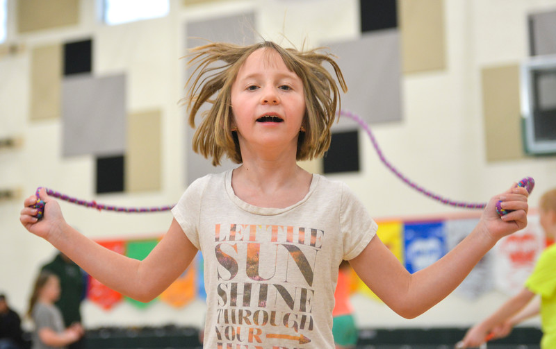 Justin Sheely | The Sheridan Press<br /> <br /> Third-grader Kelsie Griffin's hair bounces as she counts her jumps during the annual Jump Rope for Heart event at Tongue River Elementary Friday, Feb. 23, 2018. Jump Rope for Heart is a nation-wide program to promote exercise and healthy eating for kids.