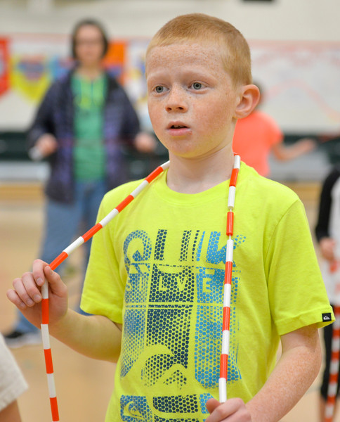 Justin Sheely | The Sheridan Press<br /> <br /> Fourth-grader Henry Williamson listens to the instructor during the annual Jump Rope for Heart event at Tongue River Elementary Friday, Feb. 23, 2018. Jump Rope for Heart is a nation-wide program to promote exercise and healthy eating for kids.