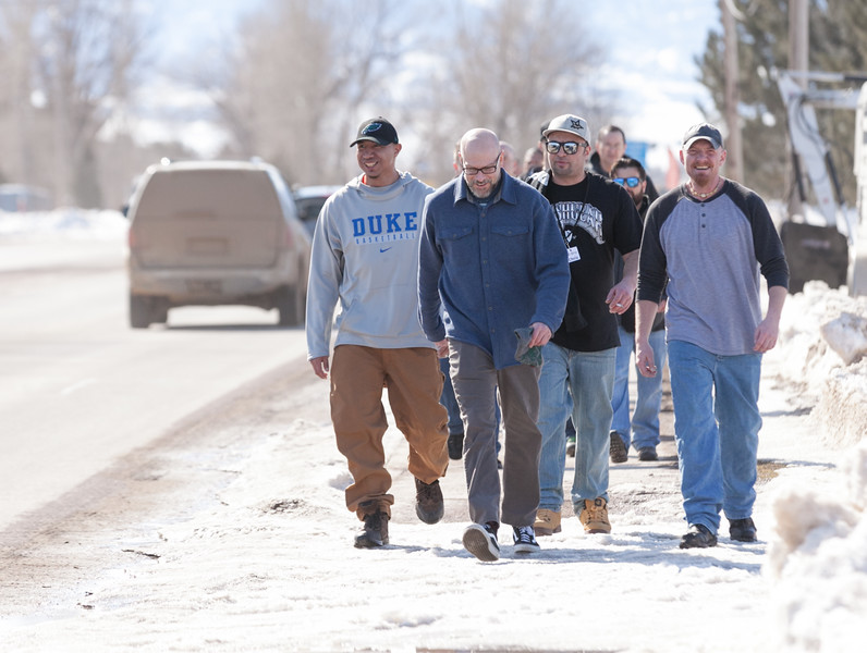 Tibby McDowell | The Sheridan Press<br /> Warm temperatures led this group from Volunteers of America to get out and take a walk down Coffeen on Saturday, March 3, 2018.