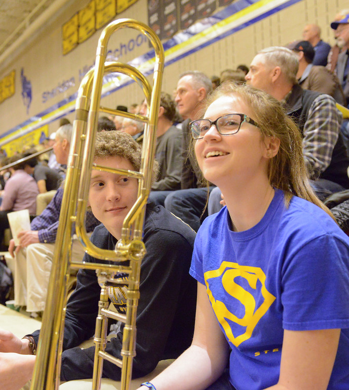 Justin Sheely   The Sheridan Press<br /> <br /> Sheridan sophomores Christian Updike, left, and Kaligh Padgett visit during the Broncs' game against Campbell County at Sheridan High School Thursday, Feb. 1, 2018.