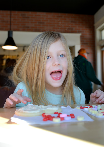 Justin Sheely | The Sheridan Press<br /> Four-year-old Hannah Heide reacts as she works on her cookie during the 3rd-annual Valentine's Day cookie decorating event at Andi's Coffee House Saturday, Feb. 10, 2018.