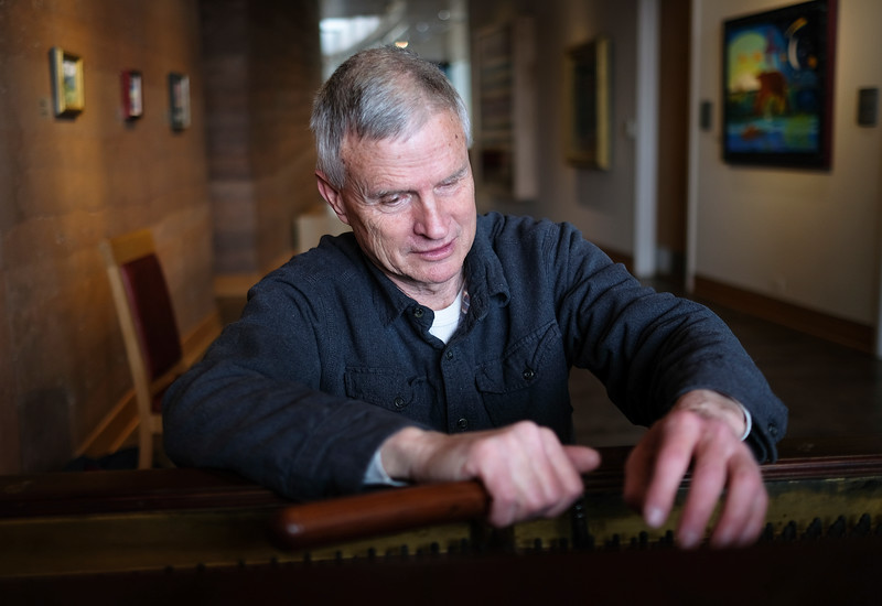 Justin Sheely | The Sheridan Press <br> Local musician Don Cherni tunes a recently donated piano at the Brinton Museum Thursday, Feb. 8, 2018. Big Horn Elementary students will play the piano during a reception for the All-Schools Fifth-Grade Student Art Show Sunday, Feb. 11, from 2 – 4 p.m.at the Brinton Museum on 239 Brinton Road, Big Horn.