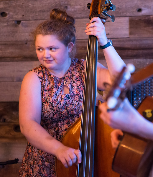 Justin Sheely | The Sheridan Press<br /> <br /> Seventeen-year-old Morgan Blaney plays bass with the Buffalo, Wyoming, all-girl group Prairie Wildfire at Luminous Brewhouse Friday, Jan. 26, 2018. The teenage musicians are raising funds to record their first album.