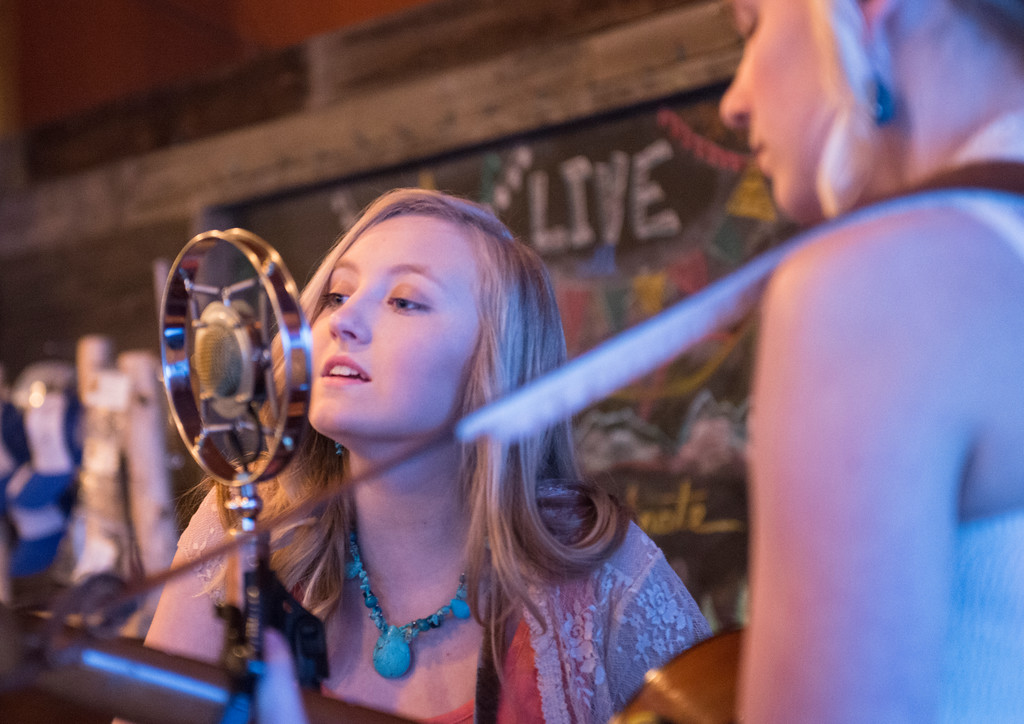 Justin Sheely | The Sheridan Press<br /> <br /> Fifteen-year-old Sage Palser sings with the Buffalo, Wyoming, all-girl group Prairie Wildfire at Luminous Brewhouse Friday, Jan. 26, 2018. The teenage musicians are raising funds to record their first album.