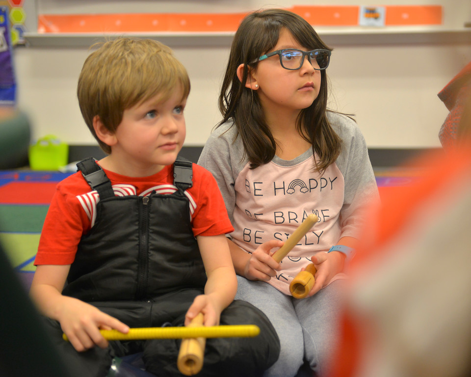 "Justin Sheely | The Sheridan Press<br /> First-grader Jaxson Willis, left, and Braxli Duca use wood instruments to create a rhythm during an after school program ""Making Music"" at Coffeen Elementary School Thursday, Jan. 11, 2018. Sheridan County School District 2 offers STEM and art based activities for students registered with their after school programs."