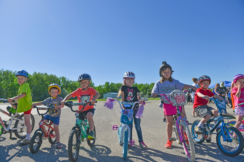 Justin Sheely | The Sheridan Press<br /> Children line up on their bikes during the Make Room Bike-A-Thon at First Baptist Church Saturday, June 2, 2018. The event supported the Summer of Hope program, which brings orphan children from around the world to host families in the United State for the summer.